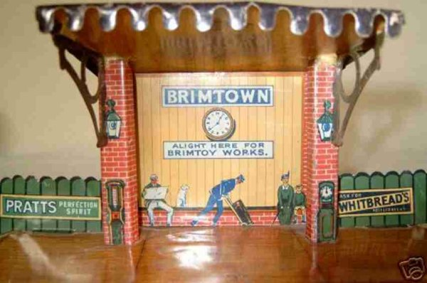 Brimtoy Railway-Stations Railway station lithographed with advertising