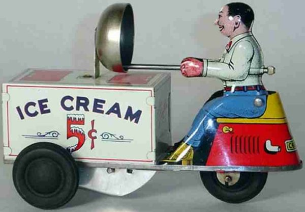 Courtland Tin-Toys Ice cream scooter, lithographed Tin Windup