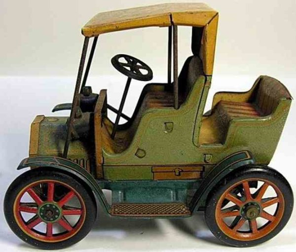 Masudaya Tin-Oldtimer  Car carriage army bike, patent no. 27579
