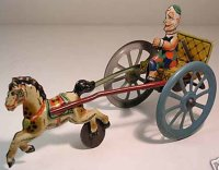 GAMA Tin-Carriages Circus clown on horse cart, marked...