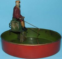 Fleischmann Tin-Figures Fisherman hand-painted wind-up...