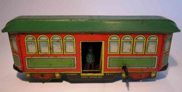 Fischer Heinrich Tin-Trams Streetcar with clockwork. Streetcar drives, conks out, the b