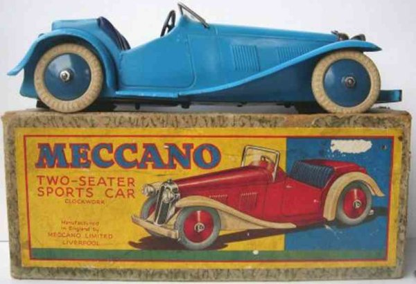 Meccano (Erector) Tin-Oldtimer Two seater sprots car, no constructor car,with clockwork, bl