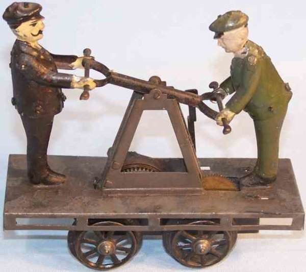 Bub Railway-Draisine Hand trolley with clockwork, green and blackly hand-coated w