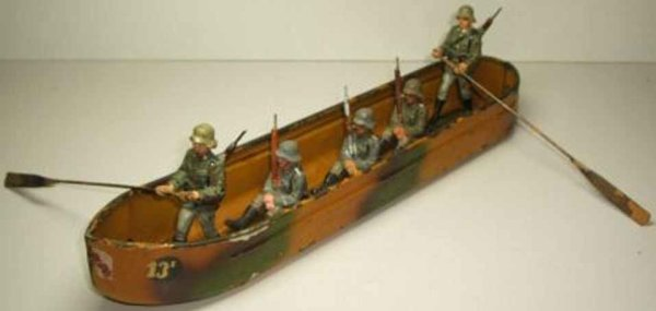 Hausser (Elastolin) Military-Ships Pontoon with 5 soldiers, lettering 13