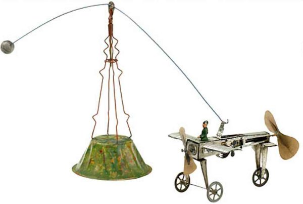 Fischer Heinrich Tin-Carousels Aeronautical with spring motor, leriot-type model monoplane,