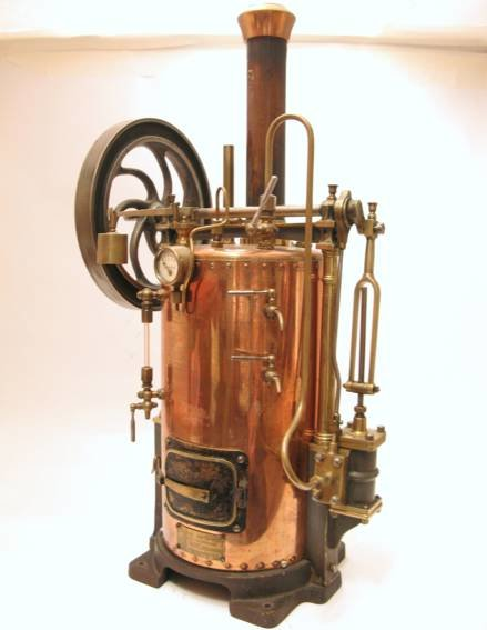 Radiguet & Massiot Steam Engines-stationary-Lokomobile Steam engine standing with copper kettle, bra