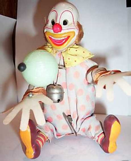 Alps Celluloid-Clowns Celluloid clown with wind-up mechanism, juggles the ball bac