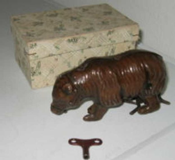 Hammerer & Kühlwein Tin-Animals Brown bear fine shaped with clockwork, wound he marches off