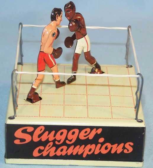 Biller Tin-Figures Boxing ring Slugger Champions with clockwork, of tin, lith