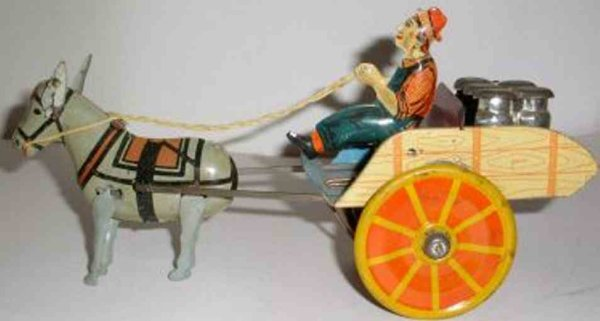 Unique Art Manufacturing Company Tin-Carriages Wind Up  Hee Haw with mule and driver