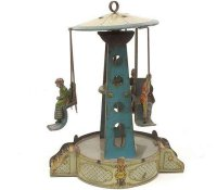 Krauss Wilhelm Tin-Carousels Roundabout pale green base,...