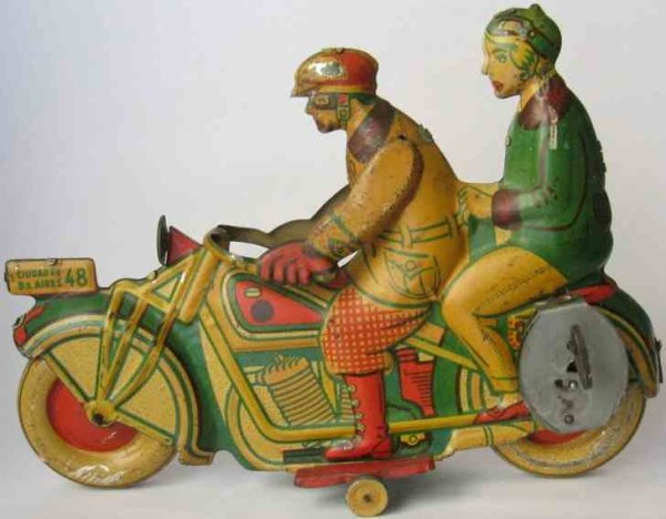Matarazzo Tin-Motorcycles Civilian cycle driver and woman passenger, lithographed with