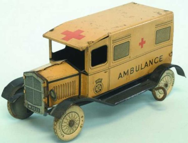 Wells Tin-Other-Vehicles Ambulance lithographed, done in cream & black, Red Cross sym