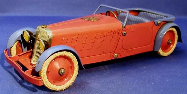 Meccano (Erector) Tin-Cars Prefabricated model sport two-seater cabriolet of tin, rubbe