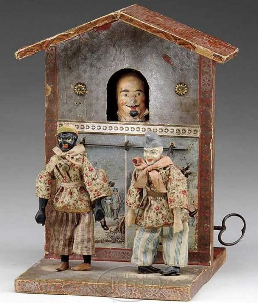 Automatic Toy Works Tin-Automata Clockwork theatre with two dancers and gentleman in window,