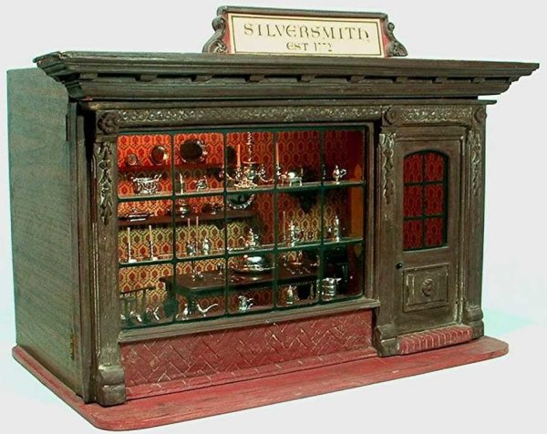 Kupjack Eugene Dollshouses -Accessories 1/12th scale lighted 18th century Silversmith Shop room box