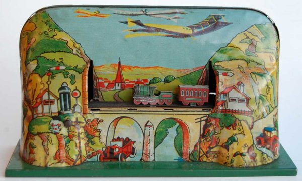 Schuhmann Adolph Tin-Toys train track featuring three trains (3 x loco and tender), Wi