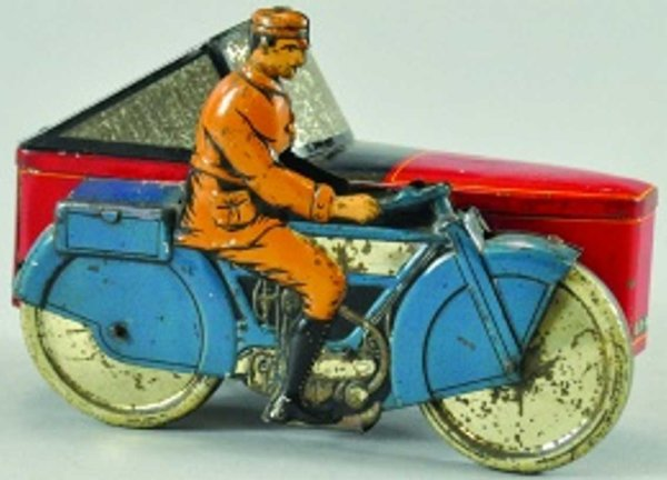 Dunns Gray Tin-Motorcycles Motorcycle biscuit tin, lithographed, rider on blue cycle wi