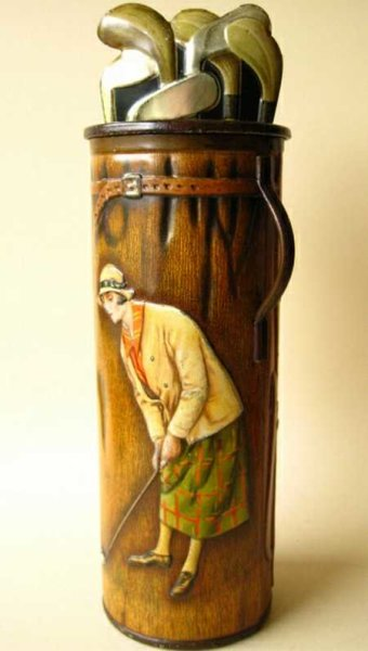 Barringer, Wallis & Manners LTD Tin-Figures Antique tin golf bag man and woman putting; one of the n