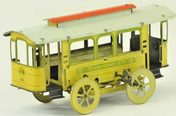 Greppert & Kelch Tin-Trams Trolley lithographed tin, early example has spoke wheels, re