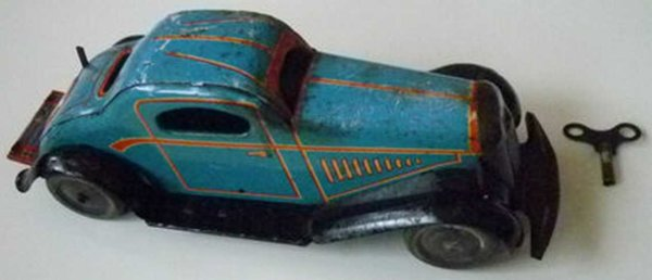 Rare & Huge Tin-Cars Car with clockwork, British Made, with start and stop-leve