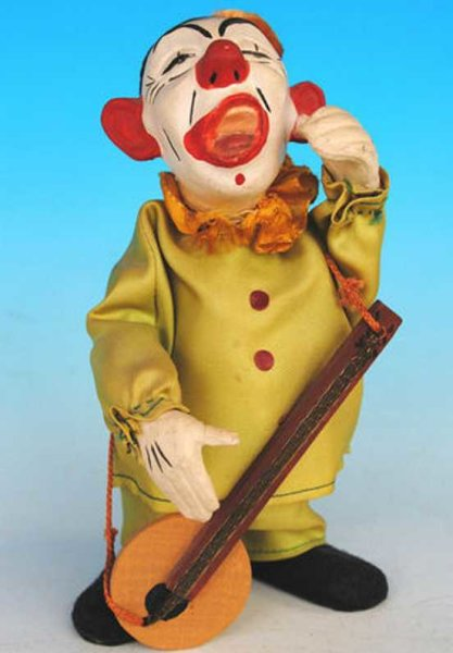 Carl Max Figuren Clown aus Pappmache mit Uhrwerk, gemarkt Made in US Zone Ge