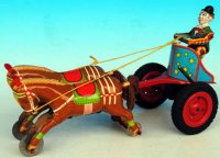 GAMA Tin-Clowns Clown from mass with horse car with two...