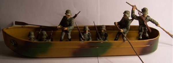 Lineol Military-Ships Pontoon with full crew, 7 figures