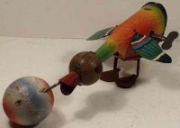 GAMA Tin-Animals Bird #35 with wooden ball in beak and...