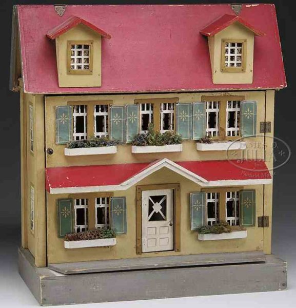 Schoenhut Dollshouses -Accessories Marvelous house on gray base with tan exterior with two uppe