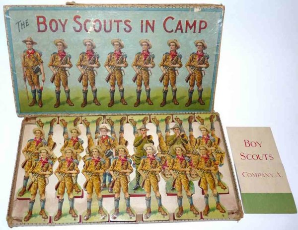 McLoughlin Brothers Paper-Figures Boy scouts incamp, antique pape playset. It includes 21 figu