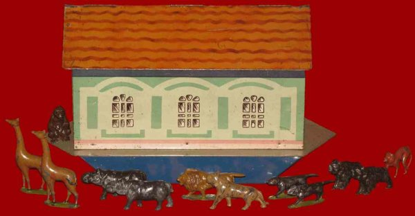 Huntley, Boorne & Stevens Tin-Toys Tinplate Noah_s ark, for ark biscuits, with lead animals o