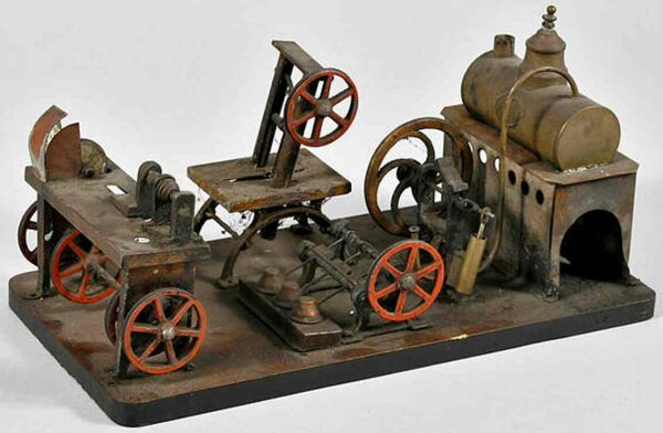 Plank Ernst Steam-Toys-factory Horizontal steam engine on wood board with hammer work, band