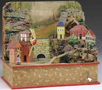Unknown Wood-Toys Wind-up diorama mountain village with...