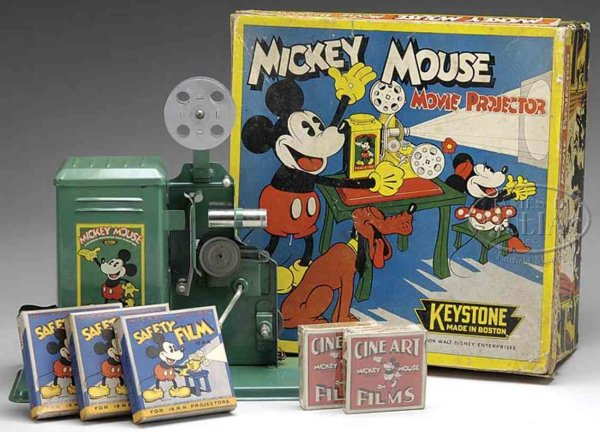 Keystone Tin-Optical-Toys Mickey Mouse movie projector has great decal of Mickey Mouse