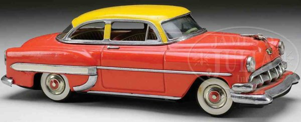 Linemar Tin-Oldtimer Chevy friction car with orange and red body with yellow roof