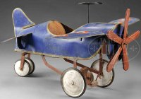Unknown Tin-pedal cars Airplane pedal car painted in blue...