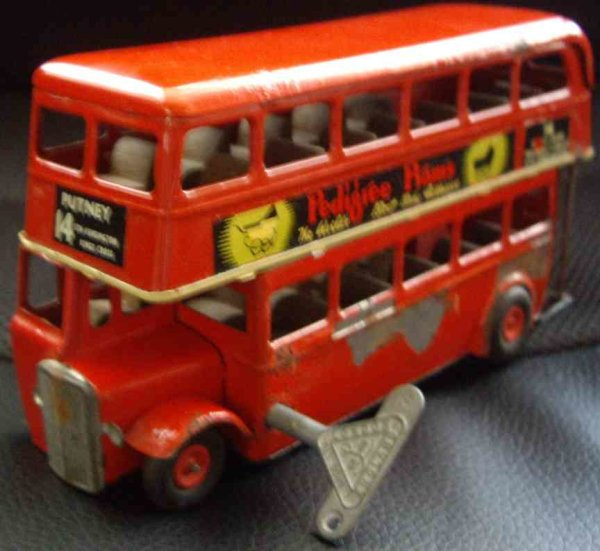 Lines Bros. Ltd Tin-Buses Minic Triang tin lithographed wind up double decker bus with