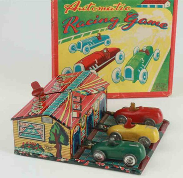 Haji Mansei Toys Co. Ltd Tin-Toys Automatic racing game with box with detailed tin lithographe