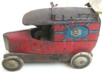Greppert & Kelch Tin-Trucks Van with driver and cap, door...