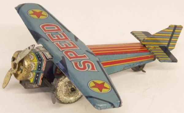 Asakusa Toy Tine Ariplanes Monoplane airplane with clockwork and key, colorful lithogra