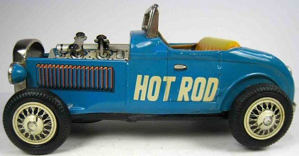 Nomura Toys Tin-Race-Cars Friction powered Ford highboy hot rod roadster  with moving