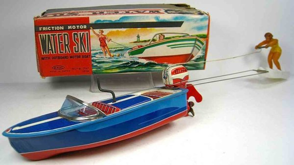 Haji Mansei Toys Co. Ltd Tin-Ships Friction powered outboard speed boat with water ski vinyl gi