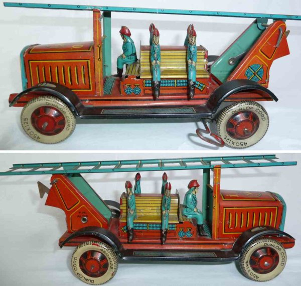 Altin Tin-Fire-Truck Fire ladder car in turquoise, red and yellow, complete with