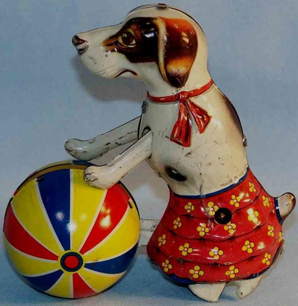 Voigt Fritz Tin-Animals Walking dog with ball and clockwork of tin, lithographed in