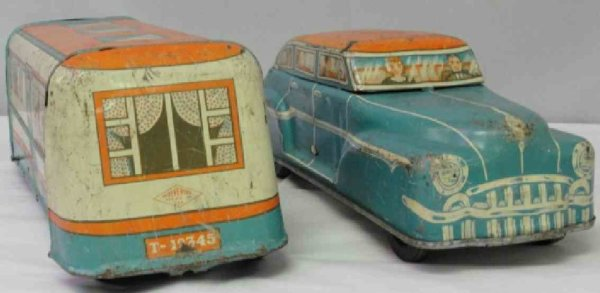 Wolverine Tin-Cars Car automobile and camping trailer RV caravan camper set of