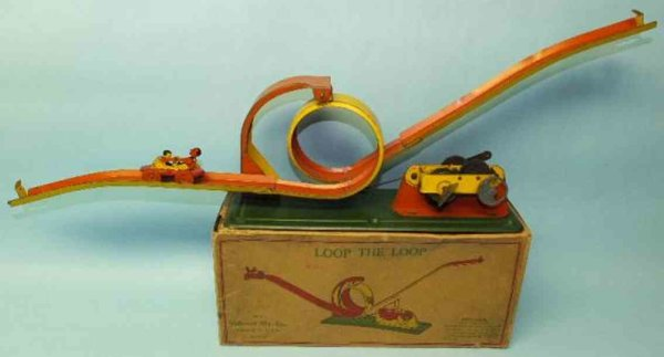 McDowell Mfg Co Tin-Toys Loop the loop mechanical tin wind-up stunt track toy in orig
