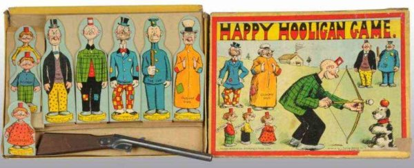 Bradley Milton Tin-Toys Happy Hooligan game includes eight figures. Original gun is