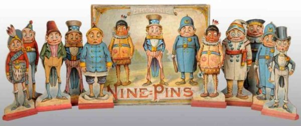 McLoughlin Brothers Wood-Figures Brownie nine pins game, Palmer Coxs famous Brownie characte